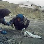 두 명의 여성이 길에 떨어져 있는 석탄을 줍고 있다