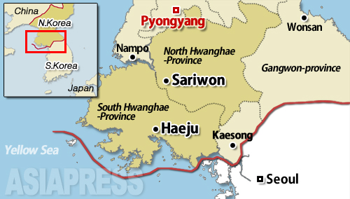 The geographic location of the North and South Hwanghae Provinces is shown above. They are among the farthest provinces from the Chinese border. Sariwon and Haeju are the respective provincial capitals of North and South Hwanghae.