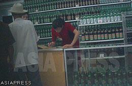 """A booth of """"Taedong-gang beer"""". (Sep.2011/Gu Gwang-ho)"""
