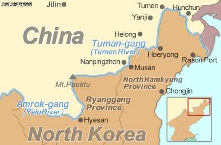 Major cities along the border between China and North Korea, marked by the Tuman-gang (Tumen River)