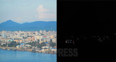 A picture of the Sinuiju city, North Korea's northern border town facing China. The left is the day-time and the right is the scene of the night. The picture was taken from the same position in China. Sinuiju has a prioritized power supply status, but lights could be seen sparsely in the night. (August/2015. Taken by ISHIMARU Jiro) ASIAPRESS