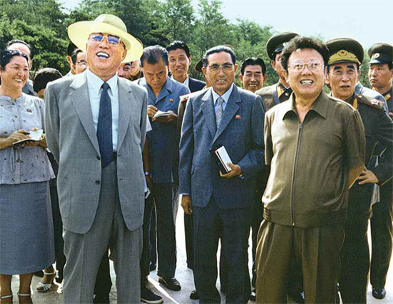 """Kim Il-sung (left) and Kim Jong-il on-site guidance in 1985 (Quoted from """"Ourselves Together"""")"""