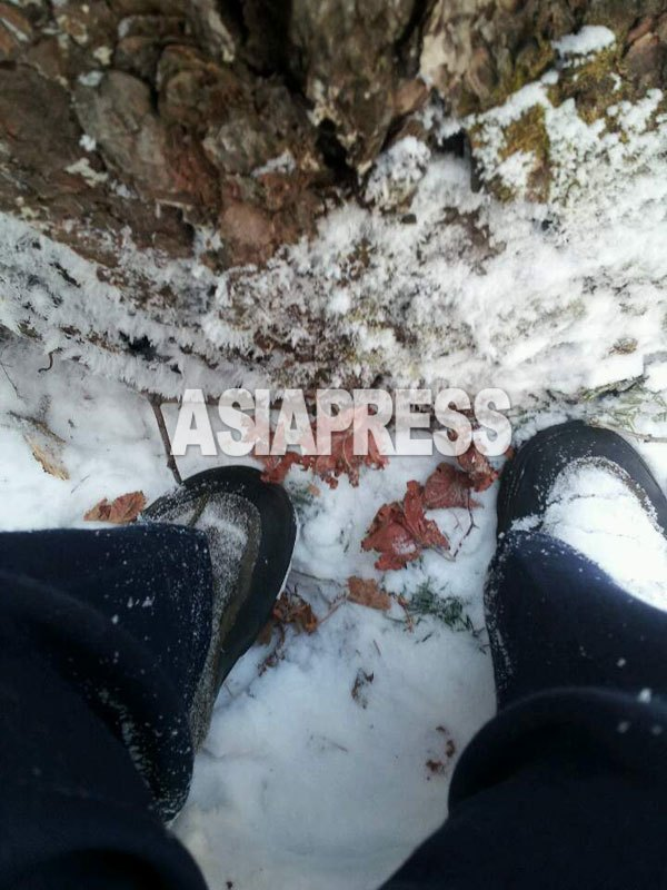 The reporter's shoes are covered with snow because he walked on a snow piled road for drawing water. (Taken by Mindulle/January 2015/ ASIAPRESS)
