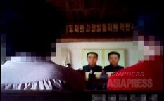 A meeting for political study by the Party at a local town. It was about requiring loyalty to Kim Jong-un. Taken in summer of 2013, ASIAPRESS