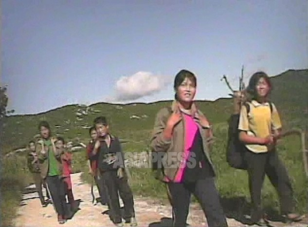 "Female junior high school students coming back from a mountain after picking up acorns.  ""I need to gather 18 kg of these during the summer holiday"". There is firewood in their knapsacks.  August 2008, in a suburb of Haeju City, South Hwanghae Province.  Taken by Shim Ui-cheon (ASIAPRESS)"