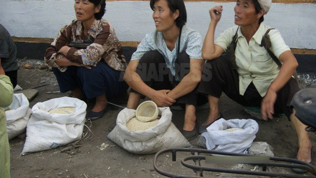 Ladies selling rice on the side of the road.  Majority of the ordinary people in North Korea make their living out of small businesses.  (at a suburb of Pyongyang)