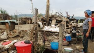 Kim regime may have understated the number of deaths.  Taken by International Federation of Red Cross and Red Crescent Societies at the flood-stricken area in North Hamgyong Province in September.